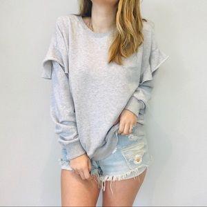 Aerie cozy gray ruffle sleeve pullover sweatshirt